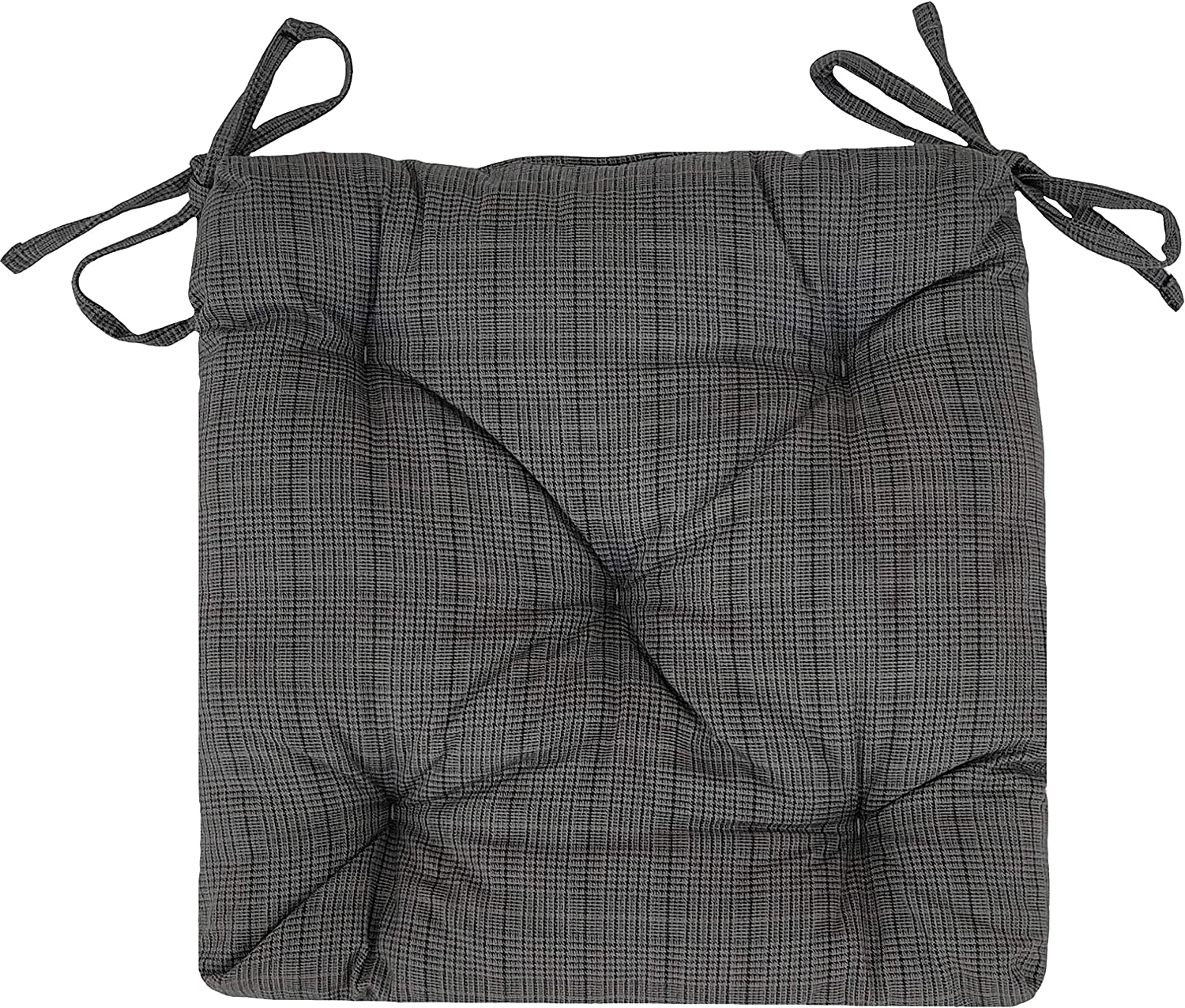 Dining Chair Seat MF International Chair Pad 41 x 41 cm // 16 x 16 Garden Hypoallergenic Tufted With Ties Durable /& Washable Chair Cushion Black