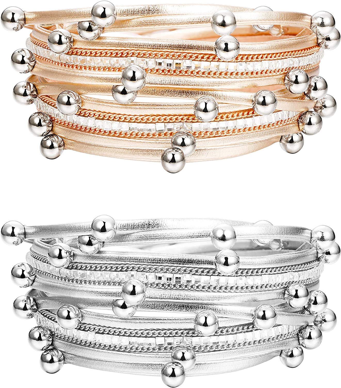 latest Finrezio 2 PCS SilverRose Gold f Bracelets Tone Multilayer Sacramento Mall Wrap