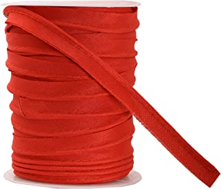 Mandala Crafts Maxi Piping Trim, Single Fold Bias Tape, Welting Cord from Cotton Polyester for Sewing, Trimming, Upholstery (Red, 2.5mm 0.5 inch 55 Yards)