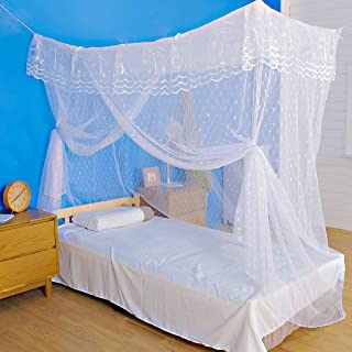 Artistic Mosquito Net Bed Canopy for Single Twin Sized Beds, All-Natural, No Insecticide, with Heart-Shaped Pattern Strong Diamond Mesh, One-Door, Bonus ebook/Hanging Kit/Storage Bag/User Guide Includ