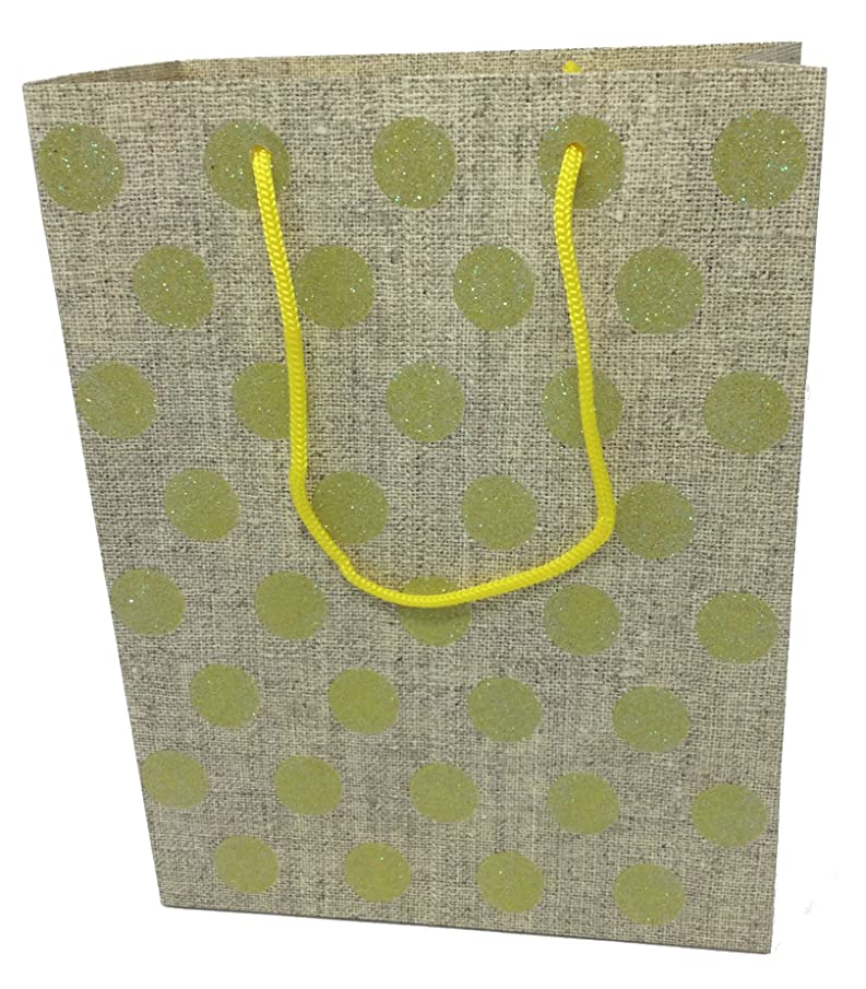 Style Design (TM) Dozen Gift Bags - 12 Beautiful Medium Gift Bags for Presents, Parties or Any Occasion (Medium, Yellow with Glitter Dots)