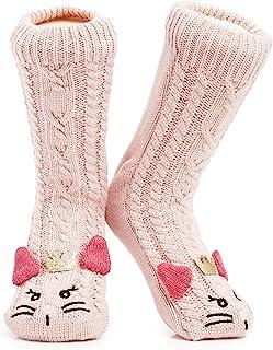 Zapatillas de calcetines para mujer | De calidad superior | Tamaños 37,38,39,40.5 y 40-41 | Calcetín Novedad Owl Dog Fluffy Cat | Regalo adorable | Suelas antideslizantes
