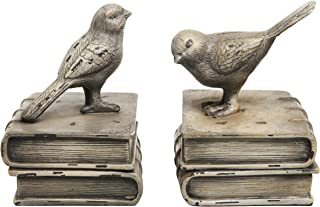 MyGift Vintage Style Decorative Birds & Books Design Ceramic Bookshelf Bookends/Paper Weights, 1 Pair Home