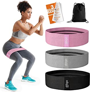 Fabric Booty Bands - Non Slip Resistance Bands Set for Legs and Butt with Portable Bag - Wide Hip Circle Leg Bands for Wor...