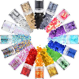 Le Fu Li Holographic Chunky Glitter 16 Colors Face Body Eye Hair Nail Festival Chunky Holographic Glitter Different Size