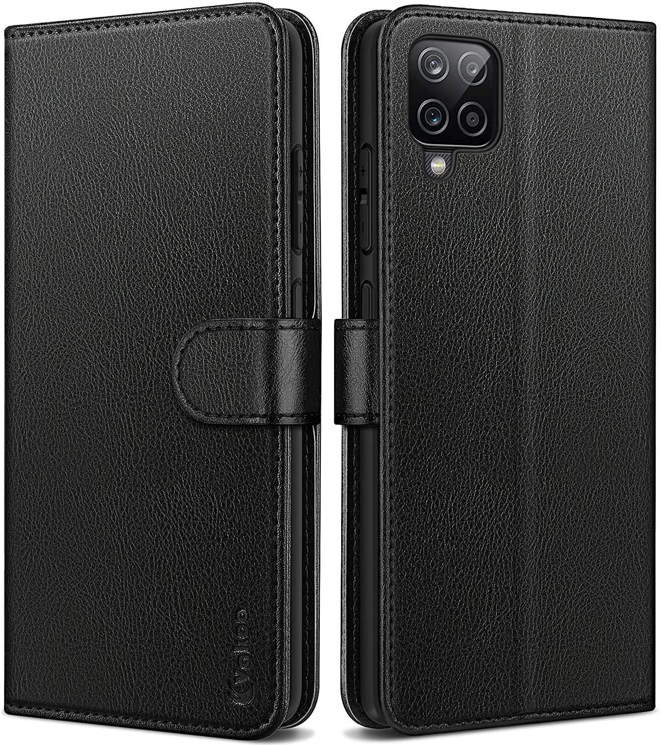Galaxy A12 Case, Samsung A12 Case, Vakoo Wallet Series PU Leather Flip Phone Cover for Samsung Galaxy A12 Phone Case with Card Holder - Black