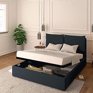 Baldiflex Licia Lit double avec coffre en tissu, sommier à lattes, pour matelas double 160 x 190 cm, tête de lit finement ...