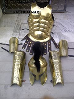 NauticalMart Muscle Armor Breastplate with Greek Spartan Helmet and Leg or Arm Guard - Brass