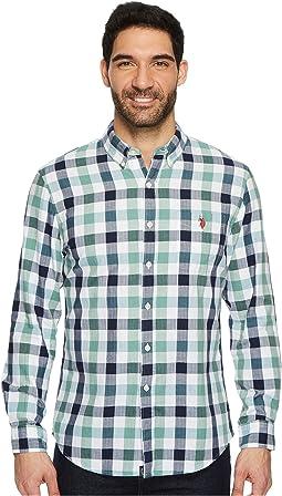 Classic Fit Stripe, Plaid or Print Long Sleeve Sport Shirt