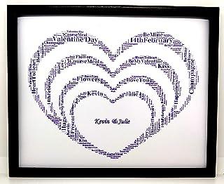 """Nuovo design personalizzato per regali con parole a forma di cuore""""San Valentino"""" (B). Presentato in cornice frontale in v..."""