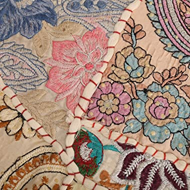 Indian-Shoppers Beige 32'' Inches Floor Pillows Indian Decorative Round Cushion Cover Hippie Embroidery Seating Ottomans Floo