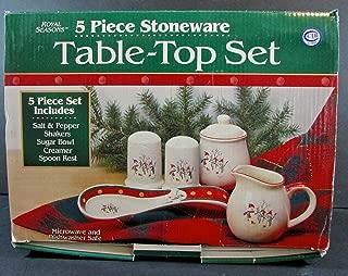 Royal Seasons Stoneware Snowman Christmas 5 Piece Table Top Set Creamer Sugar