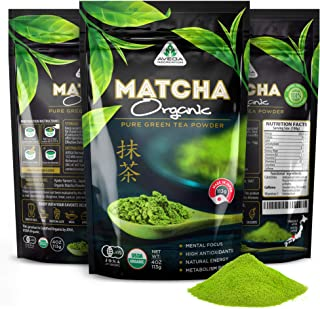 Organic Matcha Green Tea Powder [USDA certified] Best Japanese Macha 100% Pure Ceremonial and Culinary Grade [114g - 4oz] Great for Smoothies and Baking