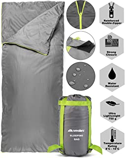 Wealers Lightweight Sleeping Bag - Zip up Bedroll  Water Resistant Carrying Case  Storage Tote - for Travel, Camping, Sleepovers, Overnights, Hiking, and More