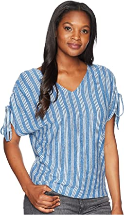 Stripe Tie Shoulder Top