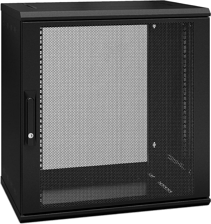 12U Wall-Mounted Rack Server Cabinet, AR112SH4, Single Hinge, Switch Depth 599 mm deep, Black