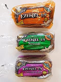 Food for Life, Ezekiel 4:9 Bread, Original Sprouted, Cinnamon Raisin, Sesame 3 Pack