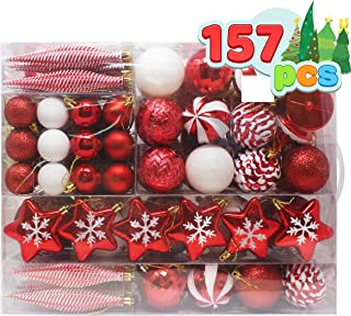 Joiedomi 157 Pcs Red and White Christmas Ornaments with a Red Star Tree Topper, Shatterproof Christmas Ornaments for Holid...