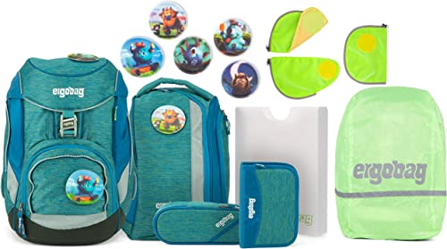 Ergobag Pack MonstB reunde Schulrucksack-Set 6tlg. + Sicherheitsset + Regencape Grün