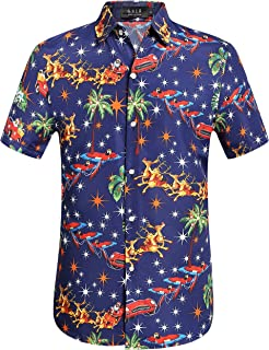 Men's Santa Claus Holiday Party Hawaiian Ugly Christmas Shirt