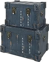 ts-ideen juego set de 2 Containers estantería cómoda caja cofre de diseño estilo retro shabby industrial, color azúl verde