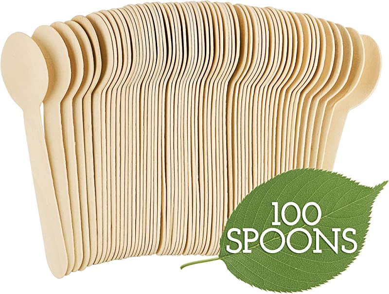 Galashield Disposable Wooden Spoons 100 Piece 6 3 Length Eco Friendly Biodegradable Compostable Wooden Cutlery Set Wooden Utensils