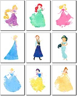 Disney Princess Watercolor Prints - Set of Nine 8x10 Photos - Rapunzel Ariel Aurora Elsa Anna Jasmine Cinderella Snow White Belle