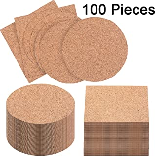 Pangda 100 Pieces Self-Adhesive DIY Coaster Square Cork and Round Cork Backing Sheets, Mini Wall Cork Tiles for Coasters and DIY Sticky Crafts, 4 x 4 Inch