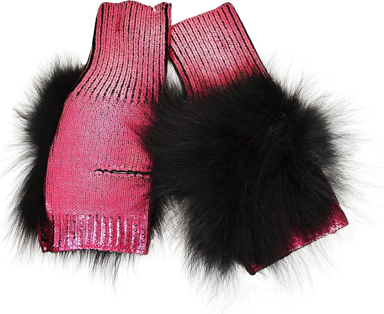 Womens Designer Jocelyn Metallic Fingerless Fox Fur Mittens Pink Black