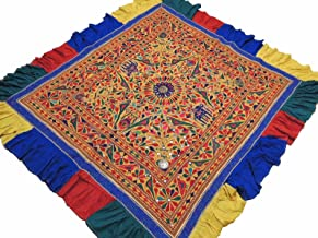 NovaHaat Banjara Yellow Tribal Embroidery Tapestry - Vintage Hand Embroidered Huge Ethnic Indian Wall Hanging with Multi-color Floral Motifs and Extensive Mirror Work ~ 82