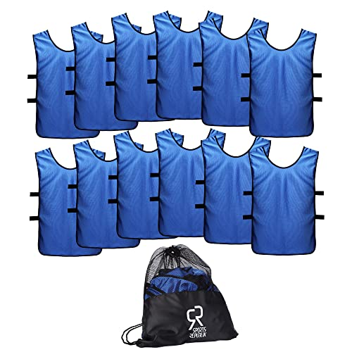 SportsRepublik Pinnies Scrimmage Vests for Kids, Youth and Adults (12-Pack) -