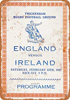 Wall-Color 10 x 14 Metal Sign - 1927 Rugby England vs. Ireland - Vintage Look