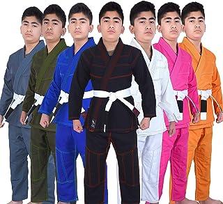 Kids BJJ Gi for Kids IBJJF Youth Grappling Children's Brazilian Jiu Jitsu Gi Kimono Lightweight Uniform with Free Belt