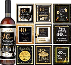 40th birthday wine labels Set of 9 - Milestone wine labels - 40th birthday party decorations - gift ideas 40th birthday - 40th birthday party supplies