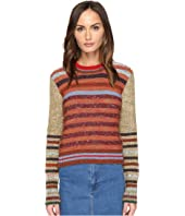 RED VALENTINO - Mix Carded Mouline Yarn with Stripes Detail