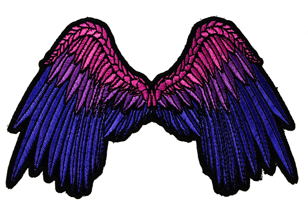Beautiful Biker Angel Wings Purple pink Iron on Embroidered Patch IVAN3199