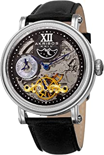Akribos Skeleton Automatic Dual Time Watch - Skeletonized Self-Wind Men's Coin-Edge Bezel Transparent Watch - Casual Genuine Leather Watch AK968