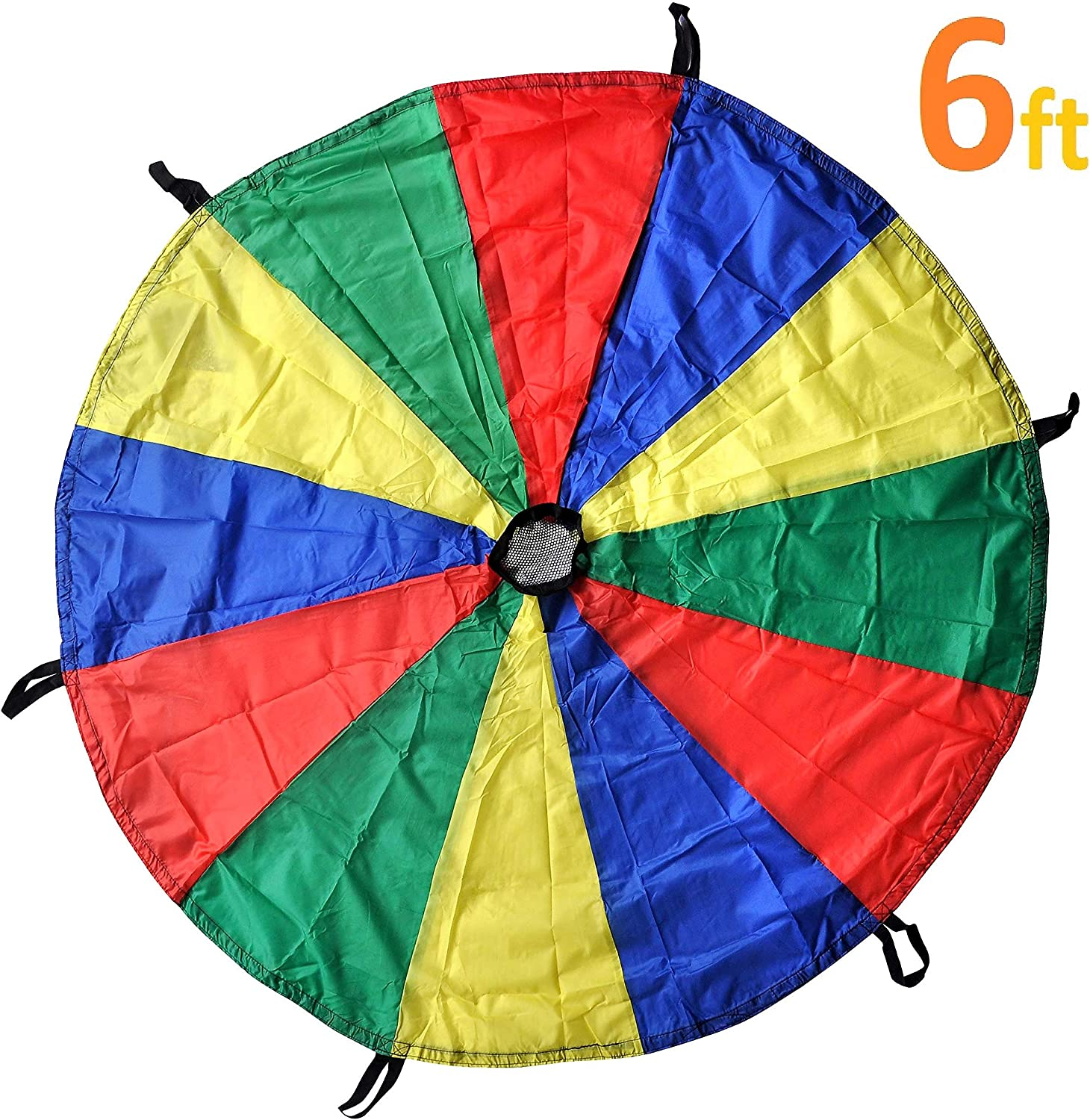 GSI Kids Play Parachute for Cooperative Play and Upper Body Strength Training (6 Feet 6 Handles)