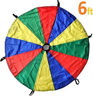 GSI Kids Play Parachute Rainbow Parachute Toy Tent Game for Children Gymnastic Cooperative Play and Outdoor Playground Activities