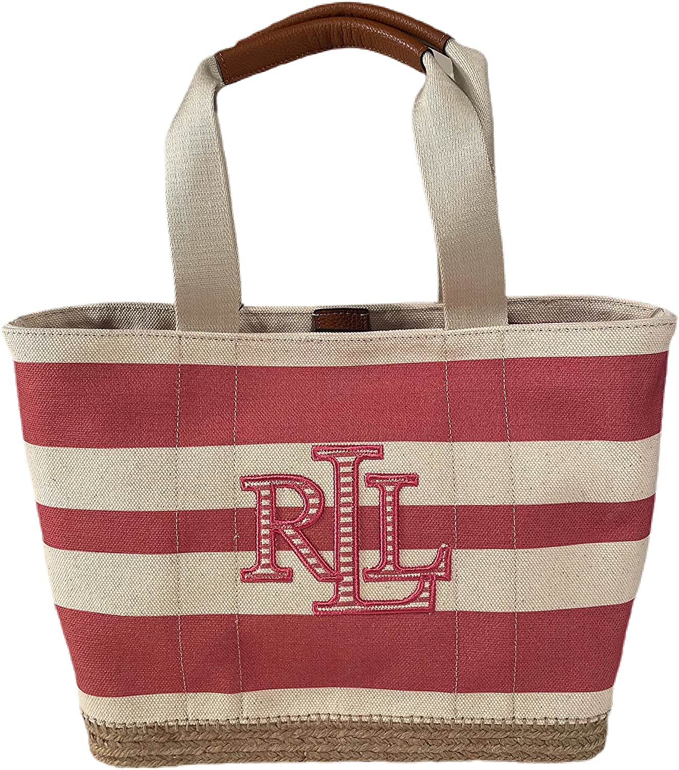 WOMEN'S EMBROIDERED LOGO PINK STRIPED COTTON CANVAS BRAIDED STRAW BASE LEATHER BOTTON TOTE BAG PURSE