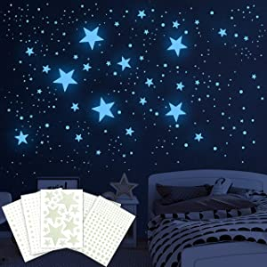 Glow in the Dark Stars for Ceiling and Dots,849PCS 3D Luminous Adhesive Ceiling Stickers Stars Dots Glow in the Dark Decals,Realistic Tiny Plastic Starry Sky Star Stickers for Baby Kids Bedding Bedroom Car Wall Decor (Sky Blue)