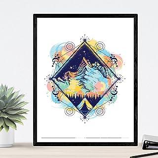 Nacnic Lámina para enmarcar MONTAÑA. Imagen de montaña a Todo Color con los Elementos y Universo. Poster Estilo nórdico. Tamaño A3