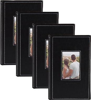 DesignOvation Debossed Black Faux Leather Photo Album, Holds 300 4x6 Photos, Set of 4
