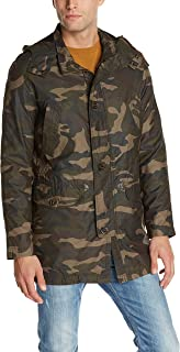 معطف رجالي مموه من كول هان مع بطانة فرو صناعي قابلة للإزالة