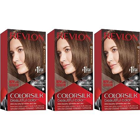 REVLON Colorsilk Beautiful Color Permanent Hair Color with 3D Gel Technology & Keratin, 100% Gray Coverage Hair Dye, 40 Medium Ash Brown, 4.4 oz (Pack of 3)