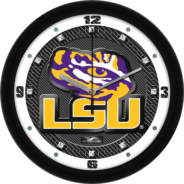 LSU Tigers - Carbon specialty shop Textured Fiber Clock Gorgeous Wall
