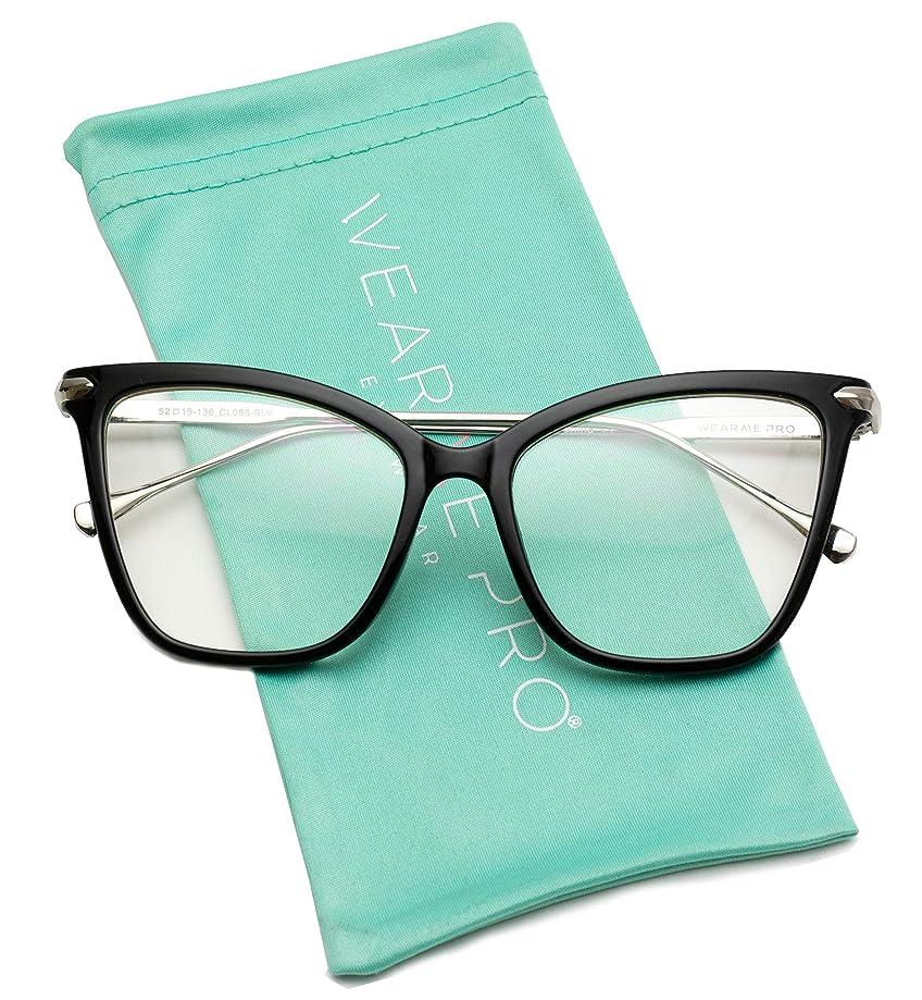 WearMe Pro - New Elegant Oversized Clear Cat Eye Non-Prescription Glasses
