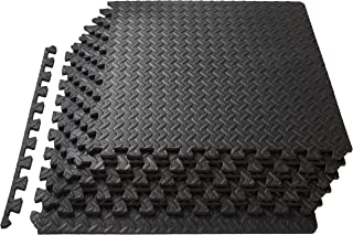 ProSource Puzzle Exercise Mat 13 mm, EVA Foam Interlocking Tiles Protective Flooring for Gym Equipment and Cushion for Wor...