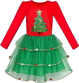 Girls Dress Christmas Santa Hat Long Sleeve Party Dress Size 6-12