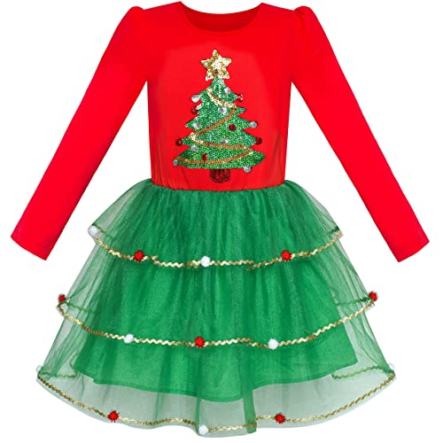 c53c881797e5 Girls Dress Christmas Santa Hat Long Sleeve Party Dress Age 6-12 Years